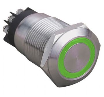 Green Ring Illuminated 12V 19mm IP65 Anti-Vandal Switch, Latching (A50WY) AB-AV-922